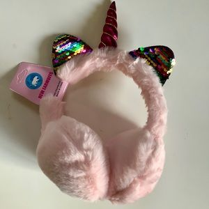 Light pink adorable sequins unicorn ear muffs gift